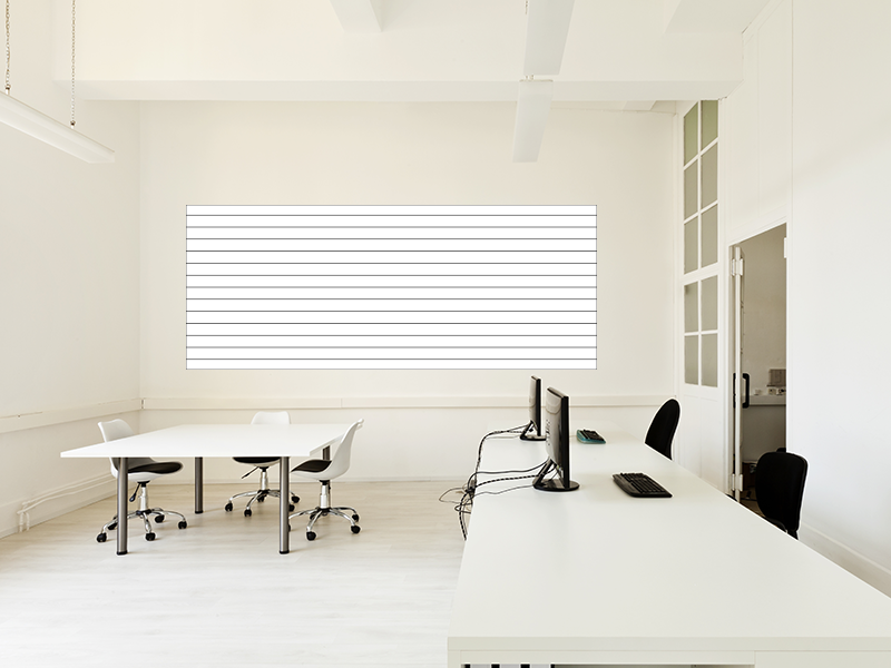 Selbstklebende magnetische Whiteboardfolie_200x100cm weiß  liniert